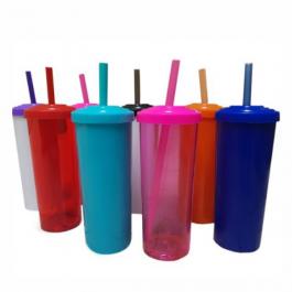 10 Copos Long Drink de Acrílico - 350ML ACRÍLICO COM TAMPA E CANUDO   MINIMO DE 10 UNIDADES
