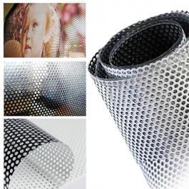 ADESIVO PERFURADO Vinil  PVC 0.12mm  4X0 Brilho Corte Reto