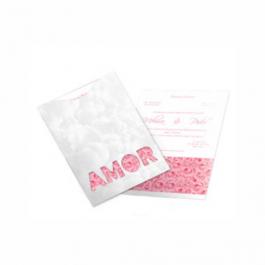 CONVITE ROMÂNTICO  06 Envelope Aspen Perolizado 180g - Lâmina Aspen Perolizado 180g 190x245mm  Sem Verniz Corte e Vinco Padrão