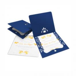 CONVITE ROMÂNTICO  07 Envelope Color Plus Azul - Lâmina Interna Diamond Telado 180g 240x215mm  Sem Verniz Corte e Vinco Padrão
