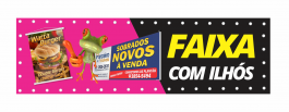 FAIXA C/ ILHÓS BRILHO Lona Frontlight 440g  4X0 - Fundo Cinza/Preto Brilho Corte Reto Qualidade Fotografica