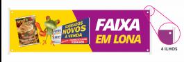 FAIXA BRILHO Lona Frontlight 440g  4X0 - Fundo Cinza/Preto Brilho Bastão  (Ilhós nas laterais Opcional) Qualidade Fotografica