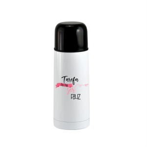 Garrafa Térmica Branca com Parede Dupla e Tampa Preta - 350ml Inox