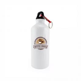Squeeze de Alumínio Branco com Mosquetão - 600ml ALUMÍNIO
